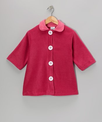 Azalea & Pink Contrast Fleece Swing Coat - Girls