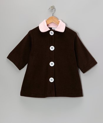 Chocolate Contrast Fleece Swing Coat - Girls