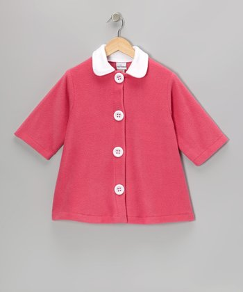 Holiday Pink Contrast Fleece Swing Coat - Toddler & Girls