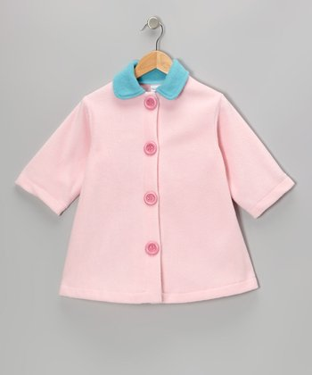 Pastel Pink Contrast Fleece Swing Coat - Toddler & Girls