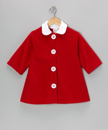 Red Contrast Fleece Swing Coat - Girls