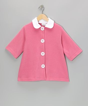 Valentine Contrast Fleece Swing Coat - Girls
