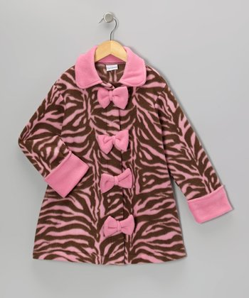 Zebra Diva Bow Swing Coat - Infant, Toddler & Girls