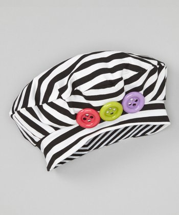 Black & White Stripe Button Beret