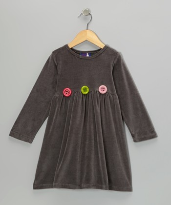 Charcoal Velour Dress - Infant