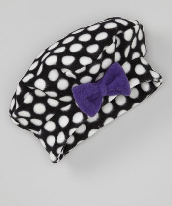 Purple Polka Dot Fleece Bow Beret