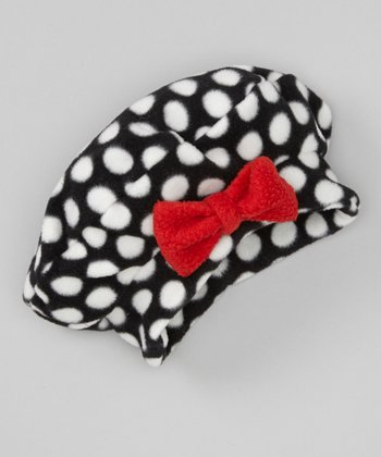 Red Polka Dot Fleece Bow Beret