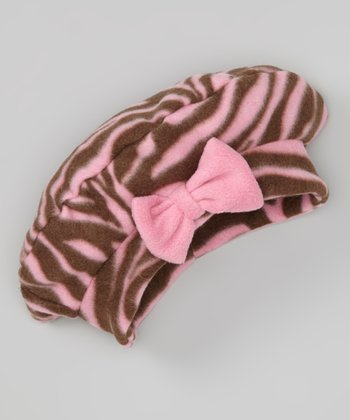 Zebra Diva Fleece Bow Beret