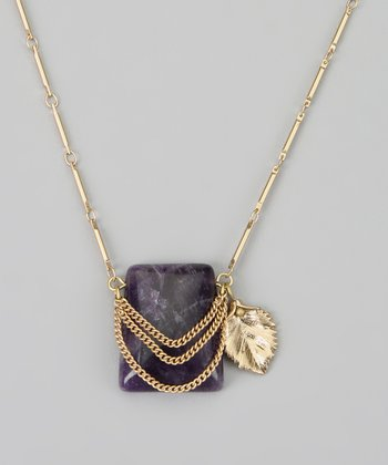 Purple & Gold Leaf Pendant Necklace