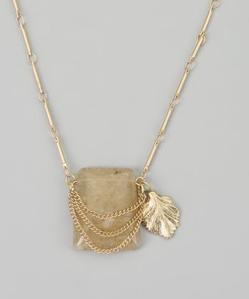Taupe & Gold Leaf Pendant Necklace