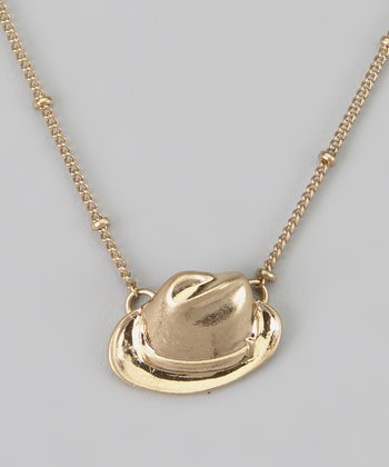 Gold Hat Pendant Necklace