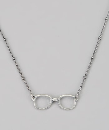 Silver Eyeglasses Pendant Necklace
