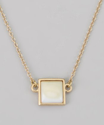White Square Pendant Necklace