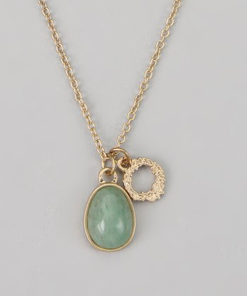 Green & Gold Pendant Necklace