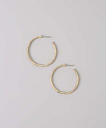 White & Gold Rhinestone Hoop Earrings
