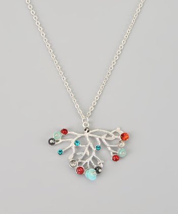 Orange & Silver Tree Branch Pendant Necklace