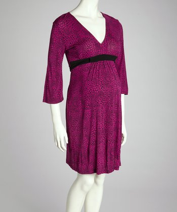 Fuchsia Crackle Maternity Three-Quarter Sleeve Dress