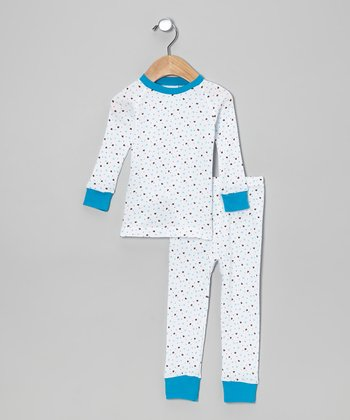 White & Aqua Hearts Pajama Set - Infant, Toddler & Girls