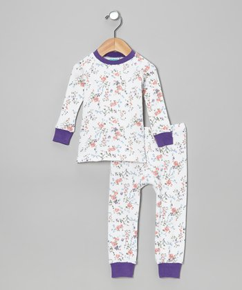 Purple & Mango Roses Pajama Set - Infant, Toddler & Girls