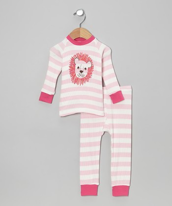 Pink Stripe Lion Pajama Set - Infant, Toddler & Girls