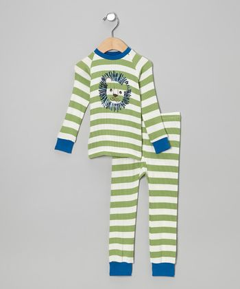 Green Stripe Lion Pajama Set - Infant, Toddler & Kids