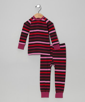 Red & Pink Stripe Pajama Set - Infant