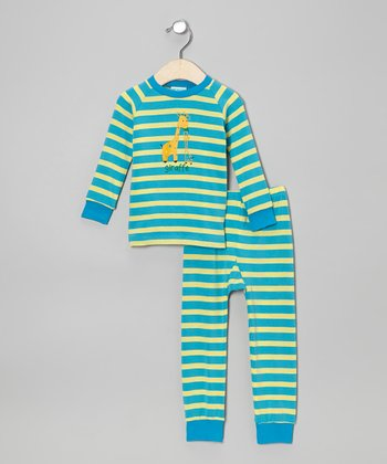 Blue & Yellow Stripe Giraffe Pajama Set - Infant
