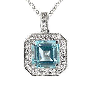 Blue Topaz & Sterling Silver Square Pendant Necklace
