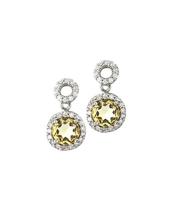 Citrine & Sterling Silver Circle Drop Earrings