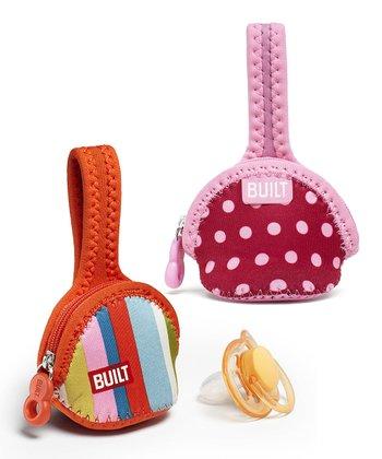 Baby Pink Stripe Single Paci-Finder Holder Set
