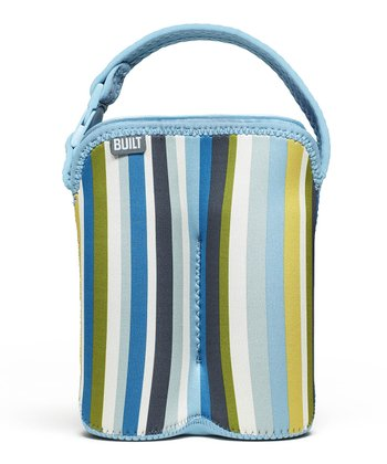 Baby Blue Stripe Bottle Buddy Double Bottle Tote