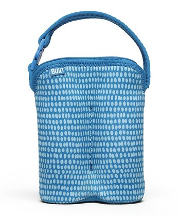 Blue Dribble Dot Bottle Buddy Double Bottle Tote