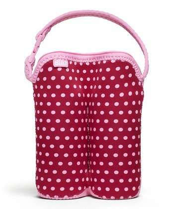 Baby Pink Dot Bottle Buddy Double Bottle Tote