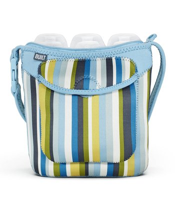 Baby Blue Stripe Bottle Buddy Triple Bottle Tote