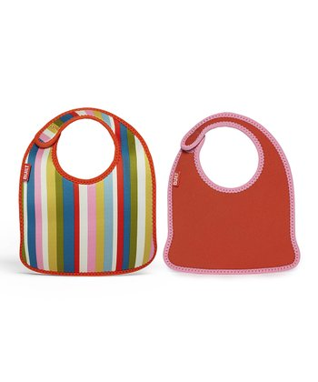 Baby Pink Stripe Infant Mess Mate Bib Set
