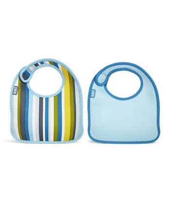 Baby Blue Stripe Infant Mess Mate Bib Set