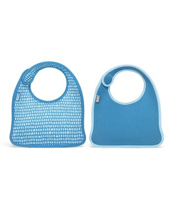 Blue Dribble Dot Infant Mess Mate Bib Set