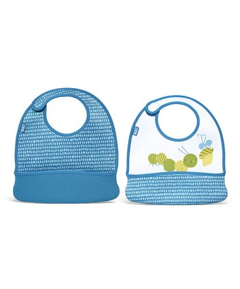 Blue Dribble Dot Caterpillar Toddler Mess Mate Bib Set