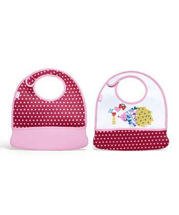 Baby Pink Dot Hedgehog Toddler Mess Mate Bib Set