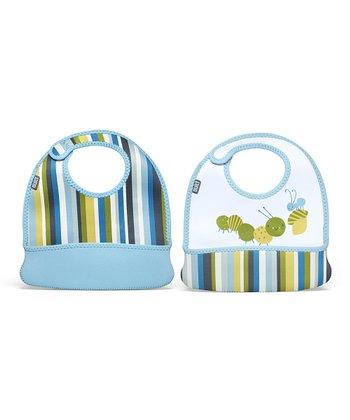 Baby Blue Stripe Caterpillar Toddler Mess Mate Bib Set