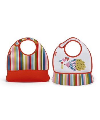 Baby Pink Stripe Hedgehog Toddler Mess Mate Bib - Set of Two