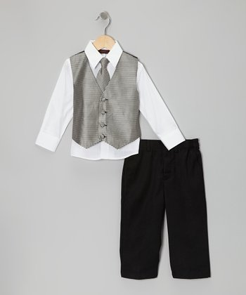 Black & White Stripe Vest Set - Boys