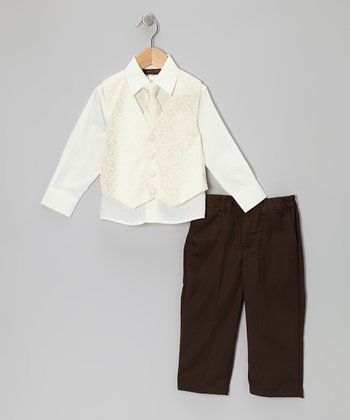 Ivory & White Arabesque Vest Set - Boys