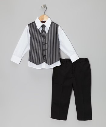 Black & White Bold Stripe Vest Set - Boys
