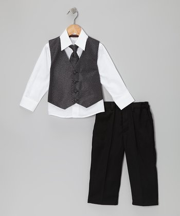 Black & White Pin Dot Vest Set - Boys