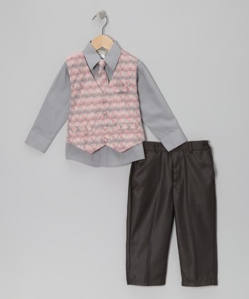 Pink Geometric Vest Set - Boys