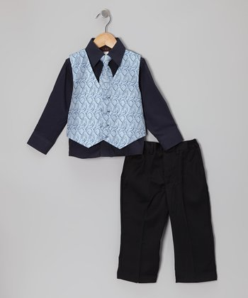 Blue Geometric Vest Set - Boys