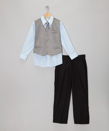 Gray Checkerboard Vest Set - Boys
