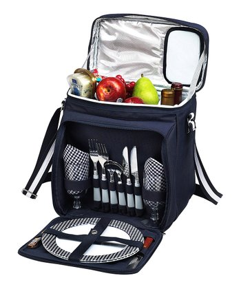 Navy & White Two-Person Picnic Cooler Set