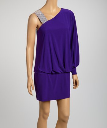 Purple Blouson Asymmetrical Dress